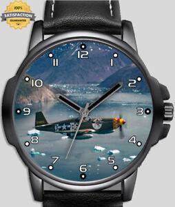 Seconde Guerre Mondiale Hélice Avion de Chasse Plat Unique Beau Poignet Montre