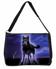 Black Night German Shepherd Dog Large Black Laptop Shoulder Bag School, AD-GS9SB