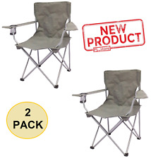 2 PACK Quad Folding Camping Chair Steel Frame Seat Armrest Gray Outdoor Events