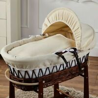 Cream Waffle Brown Wicker Moses Basket