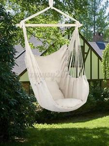 Heavy Duty Cotton Rope Hanging Tree Swing Chair Hammock Patio Outdoor Yard