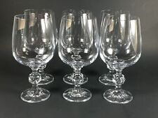 "6 Vintage CLAUDIA Style Crystal Wine Glasses by Import Assoc  6 3/4"" Ball Stem"
