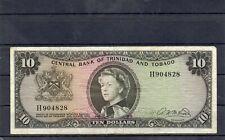 TRINIDAD & TOBAGO North America 10 Dollars 1964 p-28b Scarce Banknote