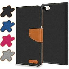 Handy Hülle Apple iPhone 4 / 4s Tasche Wallet Flip Case Schutz Hülle Stoff Cover