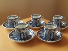 Vintage X5 Blue & White Oriental Japanese Cups and Saucers.