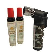 Gift Set Single Torch Jet Flame Windproof Pattern Lighter 2 Free Butane Refills