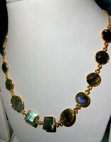 Natural Labradorite Stone Gold Plated Handmade Bezel Connector Fashion Necklace7
