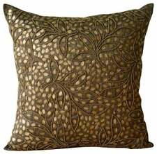 16x16 inch Silk Pillow Luxury Brown, Leaf Sequins Embellished - Gold Leaves