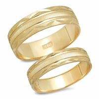 14K Yellow Gold His And Hers Matching Wedding Band Ring Set Unisex Engagement