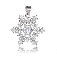 Fashion Silver Plated Snowflake Cubic Zirconia Necklace Pendant Charming Jewelry