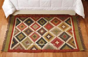 Bella Tradizionale Rustico Iuta Lana Kilim Tappeto 90 x 150cm Geometrico Scandi