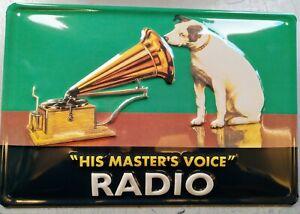 HMV, HIS MASTERS VOICE  :EMBOSSED(3D) METAL ADVERTISING SIGN 30x20cm RADIO