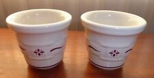 2 Longaberger Woven Traditions Red Basket Weave Flower 00004000  Votive Candle Holder Cups