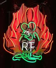 "24""X24"" Rat Fink Rf Fire Flame Retrod Hot Rod Garage Shop Retro Neon Light Sign"
