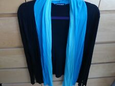 CABLE & GAUGE Black/Turquoise Long Sleeved Stretchy Cardigan Size M