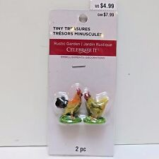 "Tiny Treasures Miniature Figurine Village, 2 CHICKENS 1.25"" Tall, New in Pkg"