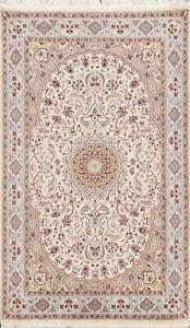 Vegetable Dye Floral Tebriz Oriental Area Rug Wool/ Silk Ivory Hand-knotted 5x8