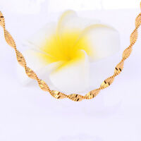 Fashion Mens Womens 18K Gold Filled Rope Water Wave Chain Necklace Hot Sale
