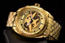 Invicta Men's 50mm Aviator Triple Gold Automatic Open Heart Gold Plated SS Watch