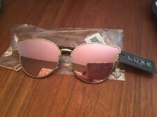 RARE NEW LUXE ROSE MIRRORED CAT-3 WOMENS LARGE FASHION SUNGLASSES BLACK GOLD
