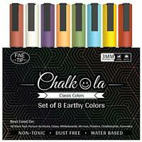 Fine Tip Chalkboard Chalk Pens - Pack of 8 Classic Earth Colors | Non Toxic Wet