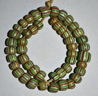 Antique Venetian Small Glass Chevron Spacer Beads W/ Stripes African Trade Beads