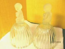 Goebel Crystal Glass Bells 1978 1979 Frosted Praying Girl & Boy Kneeling Angel
