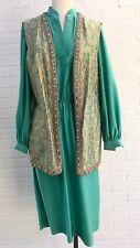 Vtg Mod 70's Green Qiana Knit Dress With Shimmery Pastel Metallic Boho Vest