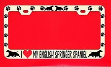 I Love My English Springer Spaniel License Plate Frame Tag Dog Paw Weatherproof