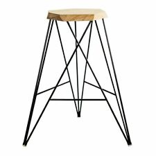 GEOMETRIC BAR STOOL - NATURAL CLEAR, WITH FOOTRESTS