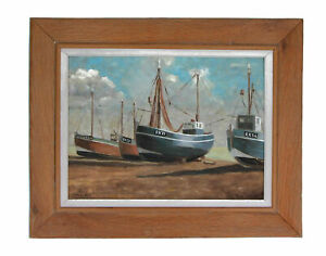 A nautical oil painting Fishing boats at low tide Signed Strickland Circa 1970
