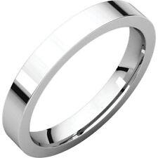 3mm Solid Platinum 950 Plain Flat Design Comfort Fit Wedding Band Ring Size 7