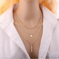 Fashion Jewellery Gold Silver Women's Chains Multi Layer Necklace Pendent Choker