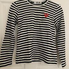 Women's Comme Des Garcons PLAY Long Sleeve Black White Striped T-Shirt Size - M