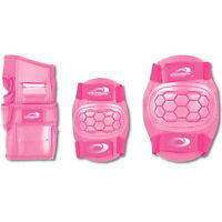 NEW 6 Piece Childs Girls Skate Cycle Knee Elbow Wrist Pads - LARGE - PINK 8-12