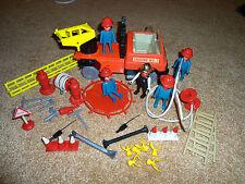 VINTAGE 1975 PLAYMOBIL DOLL HOUSE DOLLHOUSE FIRE TRUCK FIREMAN RESCUE FIGURE LOT