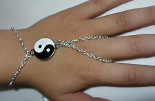 Silver Tone Hand Harness, Bracelet & Ring Armour,Slave Chain,with Yin Yang Charm