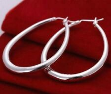"Sterling Silver Plated Polished Hoop Snap Closure Earrings 1 3/4"" Large Oval"