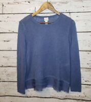 Chico's Tiered Chiffon Hem Tina Sweater Blue Womens Medium Size 1 Feminine