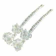 Bobby Pin Hair Clip using Swarovski Crystal Hairpin Bridal Wedding Silver C01