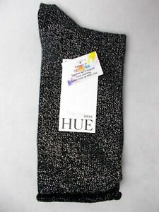 (NWT) Hue Women's Black Metallic Roll Top Shortie Sock OS