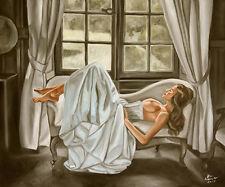 Blauhauser - LIE DOWN - 60x50cm - Ölgemälde Signiert - Nude oil painting
