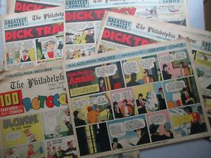 46 Pages Philadelphia Inquirer Sunday Comics Pages 1953-54, ROTOGRAVURE Color!