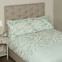 LAURA ASHLEY IONA DUCK EGG FLORAL KING SIZE QUILT COVER & 2 PILLOW CASES £110