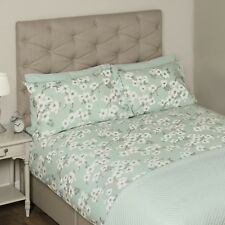 LAURA ASHLEY IONA DUCK EGG FLORAL DOUBLE SIZE QUILT COVER & 2 PILLOW CASES £90