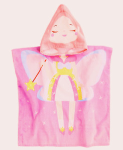 Hooded Towel Fairy Princess Pink Cotton Terry Poncho Style Beach Bath Girls NEW