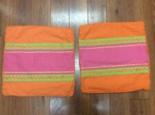 "PILLOW COVERS SET OF 2 ORANGE PINK GREEN 19"" SQUARE ZIGZAG PIPING BRIGHT FUN!"