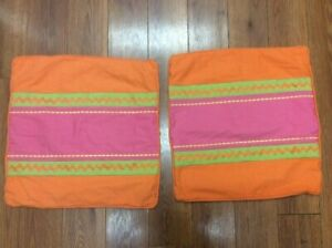 """PILLOW COVERS SET OF 2 ORANGE PINK GREEN 19"""" SQUARE ZIGZAG PIPING BRIGHT FUN!"""