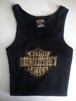 Harley Davidson Tank Top Shirt Small Black Embellished Gold Chicago Womans Vtg