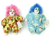 "2 Vintage 5"" GANZ Porcelain Head Clown Dolls Sand-Filled Body EN6931 (LOT A)"